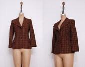 1980s brown Escada blazer | Vintage 80s plaid jacket