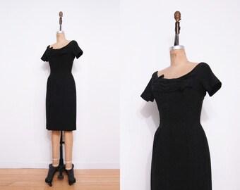 1950s black dress | Vintage 50 bow pinup LBD