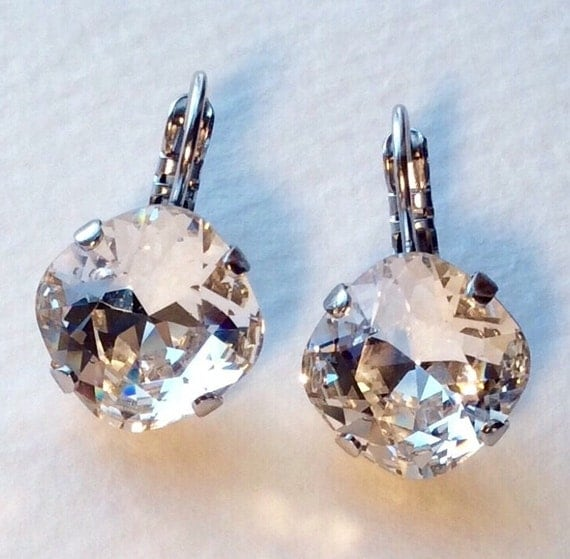 Swarovski Crystal 12MM Cushion Cut,  Lever- Back Drop Earrings - Designer Inspired - Crystal Clear - On SALE - FREE SHIPPING