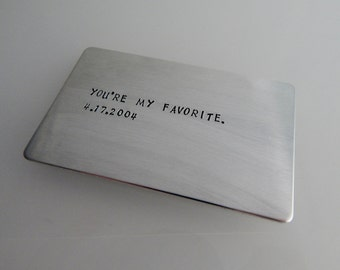 You're My Favorite / Custom Hand Stamped Wallet Insert / 10 Year Anniversary / Wallet Card / Anniversary Gift / 7 Year Anniversary