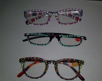3 pair of hand painted reading glasses all strengths and colors