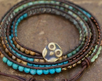 Owl leather bracelet - boho chic five wrap layering beaded jewelry, symbol of wisdom and learning, gift for her