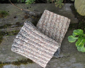 SALE 50% Ready to ship! Ivory Beige Dark khaki Ombre Hand knitted Leg Warmers Boot cuffs Boot toppers Boot socks