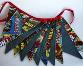 OVERSIZED pennant flags - Retro Marvel Superhero and Kona Charcoal Fabrics, Bunting, Party Decoration, Home Decor