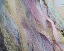 12 Yds Beautiful Vintage Pastel Lace Lot | Assorted Yardage | Pink, Blue, Yellow, Purple, Green, Mint