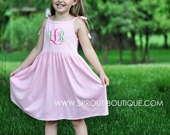 Monogrammed Girls Dress - Pink  Green - Monogram Dress - spaghetti straps - summer