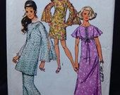 Simplicity 8831 Sewing Pattern 70s Retro Bell Flutter Sleeve Maxi Midi Dress Wide Leg Pants Tunic Boho Hippie Style Sz 14 Bust 36 UNCUT