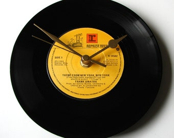 "Frank Sinatra Vinyl Record CLOCK, ""New York New York"" theme, Made from a recycled 7"" single, mustard yellow, black"