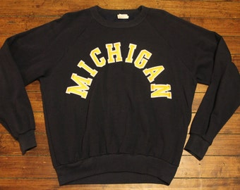 Michigan Wolverines shirt 80s blue crewneck sweatshirt stitched NCAA XL