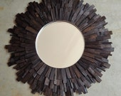 LG Dark Walnut Wood Sunburst Mirror, Industrial Reclaimed Wood Art  MADE to ORDER