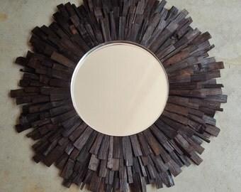 "27"" LG Dark Walnut Reclaimed Wood Sunburst Mirror MADE to ORDER"