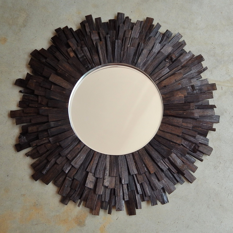 27 lg dark walnut reclaimed wood sunburst mirror made to for Sunburst mirror