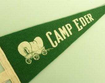 NICE Vintage Camp Pennant, SMALLER Size, Camp Eder, Fairfield Pennsylvania PA Souvenir, Green Felt Travel Banner