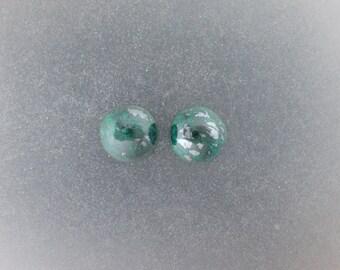 Chrysocolla Malachite 12mm round Cabochon pair