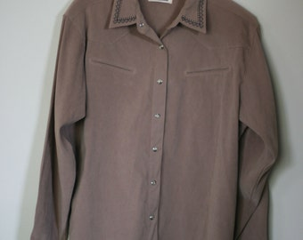 vintage brown faux suede western shirt by wrangler mens size Large