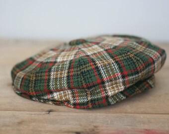 vintage wool plaid news boy hat dunn & co great britain