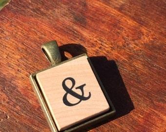 Ampersand - & - Bronze Scrabble Pendant