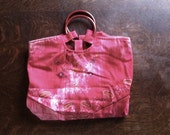 Fuchsia Pink Tie Dyed Orage, Plum and Sage Green Paisley Floral Purse with Burgundy Round Plastic Handles
