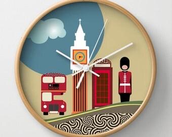 London Clock, Wall Clock, Cute Wall Clock, Big Ben Clock, London Decor, London Souvenir, Red, Blue, White, Colourful