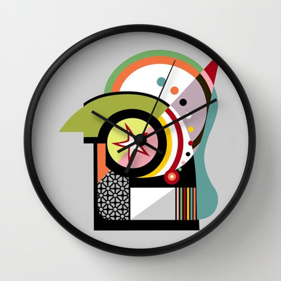 Cute Wall Clock, Unique Wall Clock, Retro Wall Clock, Bauhaus Inspired, Lime Green, Black, Orange, Red, Yellow, Colourful