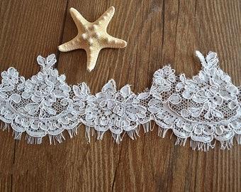 ivory alencon lace trim, chantilly lace trim for bridal veil, bridal lace trim with eyelash