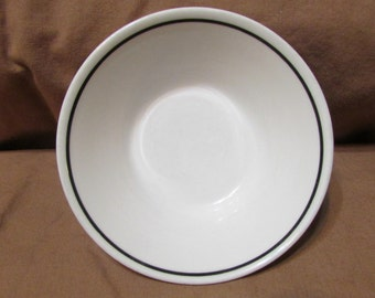 Vintage Syracuse China Syralite white with black stripe berry bowl 4-E