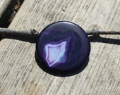 Dark purple agate pendant - 52mm in diameter (108)
