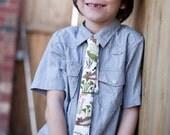 Boys Skinny Alligator Tie - Crocodiles, Fun Pattern, Adjustable, Pink, Green, Brown, White -Tammis Keefe - Michael Miller - Modern Tie