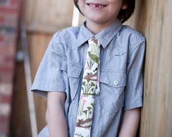Boys Skinny Alligator Tie - Crocodiles, Fun Pattern, Adjustable, Pink, Green, Brown, White -Tammis Keefe - Michael Miller - Modern Tie