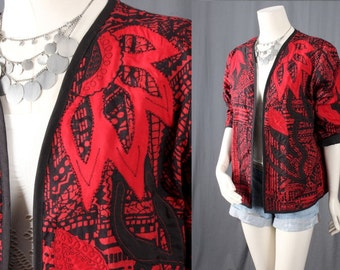 Red jacket black jacket floral jacket quilted coat Bohemian hippie women size M medium