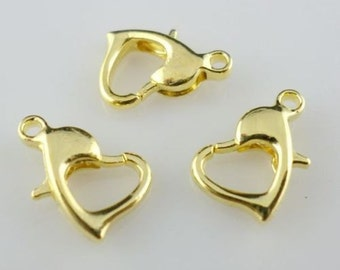 Heart-shaped Gold or Silver-plated 13mm Lobster Claw (4) Clasps