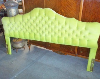 Hollywood Regency Romantic Mid Century Tufted Upholstered King Size Headboard On Sale