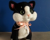 Black and White Cat with lace ribbon needle felted
