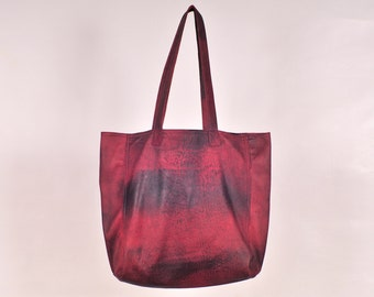 ANILA. Leather tote bag / leather bag women / vintage leather shoulder bag / simple tote / slouchy leather bag / red leather purse / red bag
