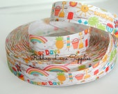 "7/8"" Ribbon by the Yard -Summer Fun Sunshine Rainbows Palm Trees White Grosgrain Ribbon-Hair bows  WHolesale by Ribbon Lane Supplies"