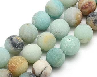 Matte Amazonite Beads, Multicolor, 10mm Round - eGR-AZ003-10