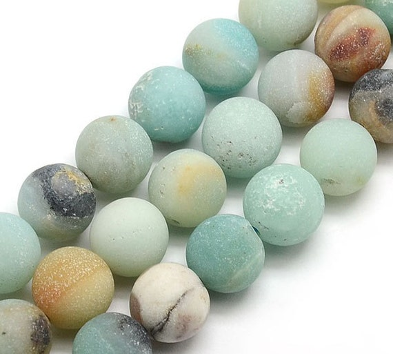 Matte Amazonite Beads Multicolor 10mm Round Egr Az003