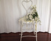 vintage white ice cream parlor chair antique heart shaped chair shabby chic wedding decor lightly distressed metal chair  herminas