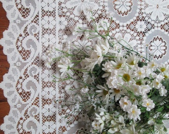 vintage cream lace shabby chic panel cottage lace panelwinter  lace curtain panel so pretty could be   wedding tablecloth