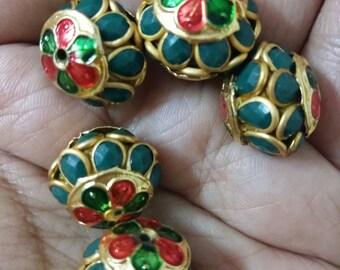 Meenakari pachi bead with gemstones x 5, 12mm x 15mm