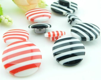 6 pcs 0.51~0.79 inch Kawaii Red/Black Stripes Resin Shank Buttons for Kids Sweaters