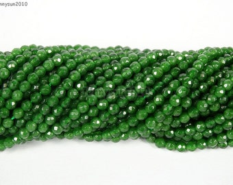 Natural Emerald Jade Gemstones Small Size 2mm 3mm Faceted Round Spacer Seed Beads 15.5'' Inches Strand Great For Jewelry Design and Crafts