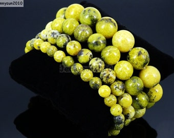 Natural Handmade Yellow Turquoise Gemstone Size 6mm 8mm 10mm 12mm Round Beads Stretchy Bracelet Healing Jewelry Design and Crafts