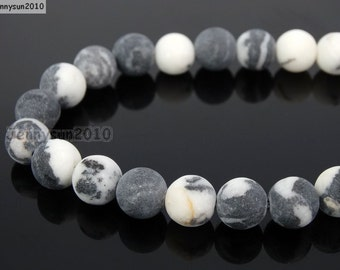 Natural Matte Black and White Zebra Frosted Gemstones 4mm 6mm 8mm 10mm 12mm Round Loose Spacer Beads 15'' Strand Jewelry Design