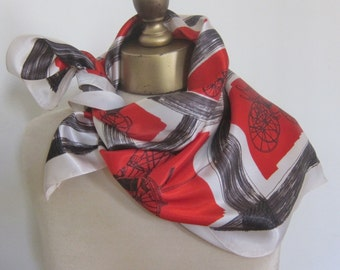 BRIGHT 1950s SCARF, square scarf, mid century accessory,  antique carriages,  RED scarf, rockabilly scarf, swing scarves