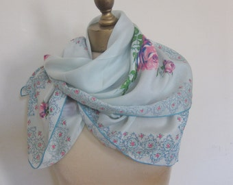 1950s floral SILK scarf AQUA hand rolled ROSES  50s fashion,