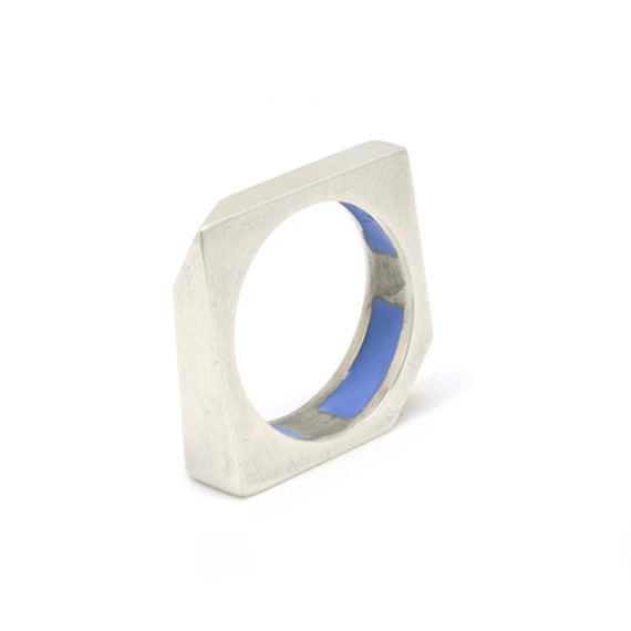 Stackable Sterling Silver edgy square Ring, with coloured enamel insertions on the inside.