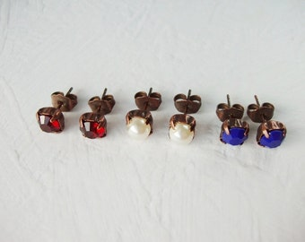 Small Earrings. Pick your color! Red, Blue or Pearl Studs. Small Copper Post Earrings. Crystal Earrings. Crystal Studs. Gifts Gift Ideas