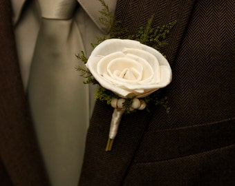 Natural Sola Rose Tallow berries Boutonniere Wedding Groom Groomsmen Ready to Ship