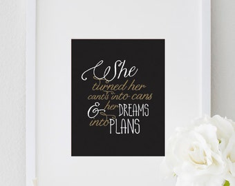 PRINTABLE She Quote Inspirational Typography Print Office Wall Art Bedroom Poster Home Decor